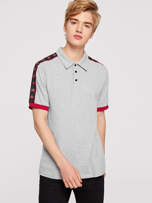 Men Contrast Tape Detail Heather Knit Polo Shirt