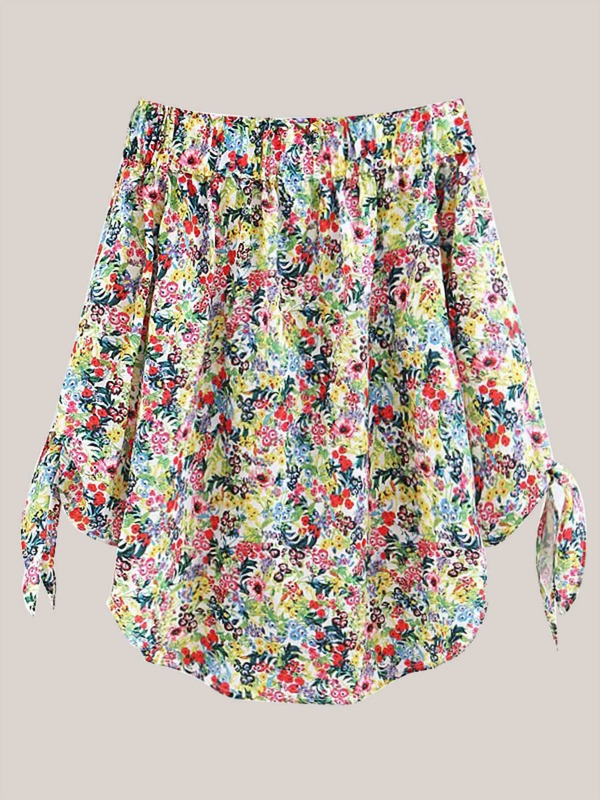 Off-shoulder Ditsy Floral Print Blouse