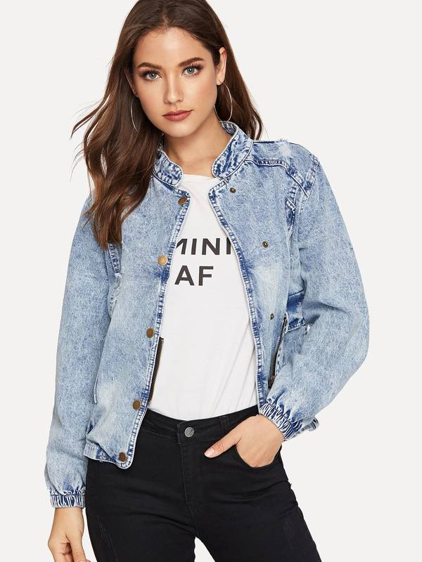 Stand Collar Faded Wash Denim Jacket