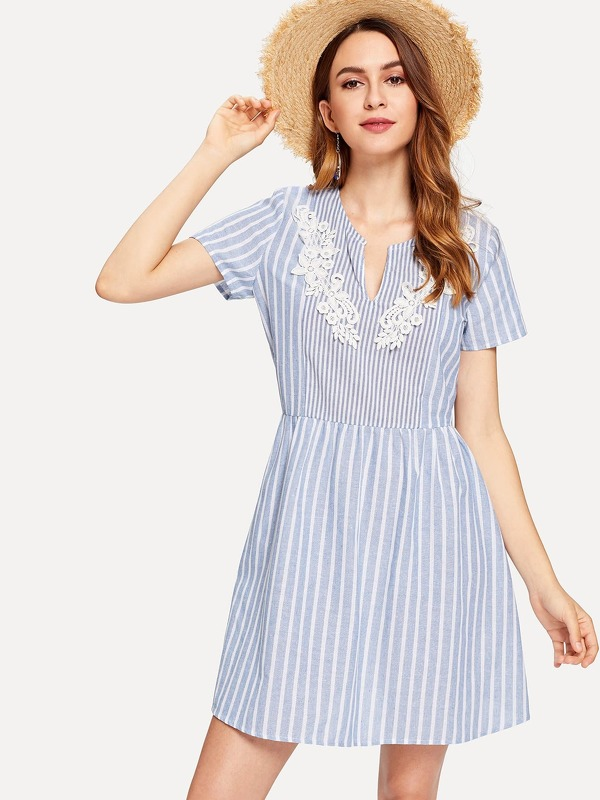 V-Cut Front Lace Applique Striped Dress