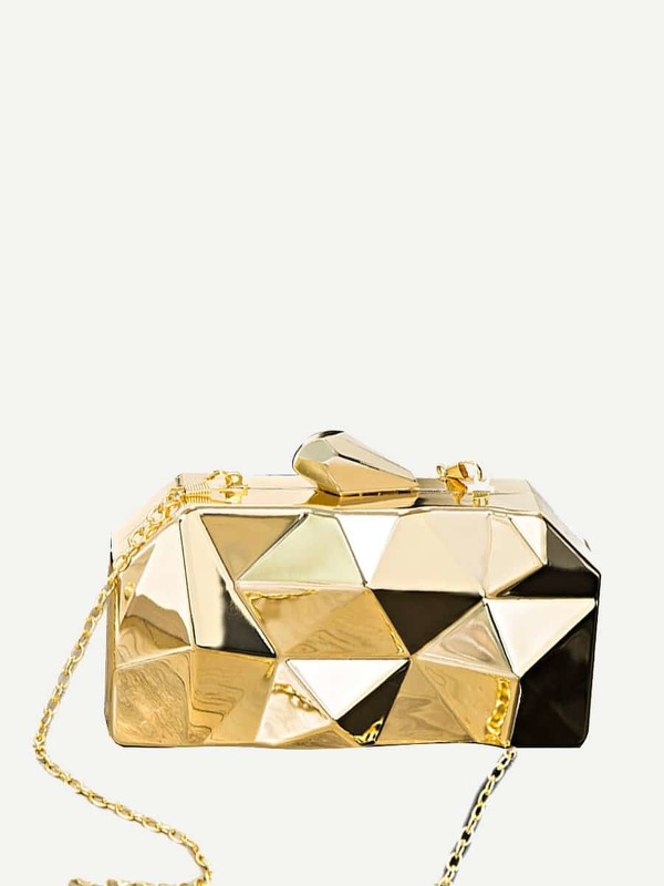 Geometric Hardcase Clutch Bag