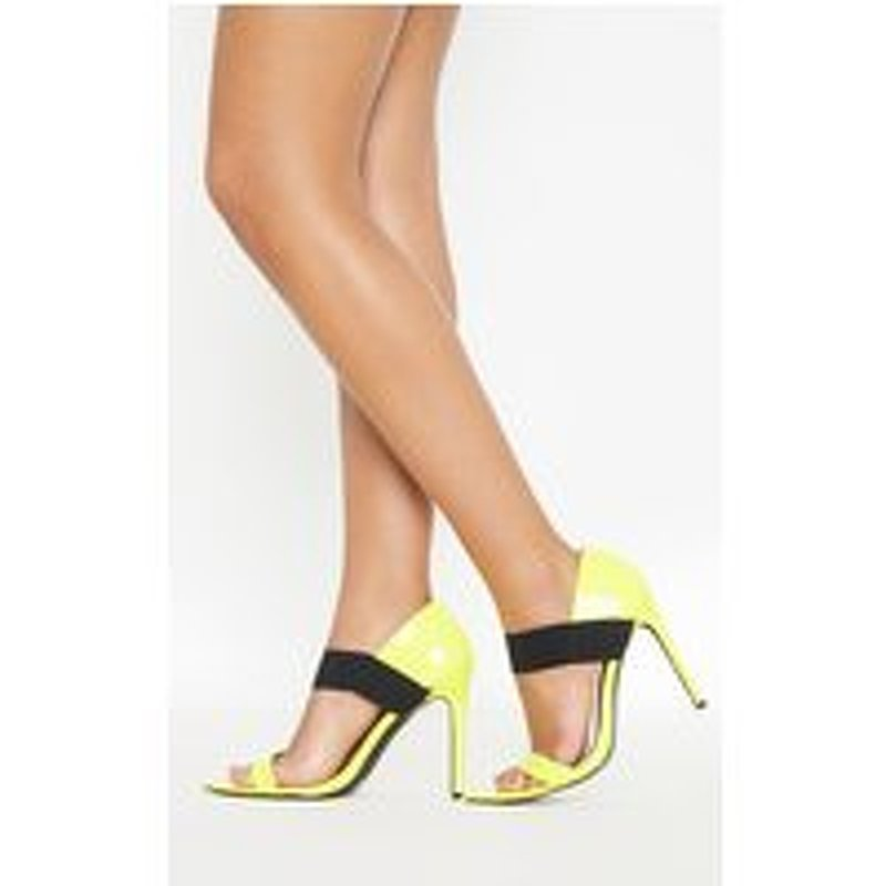 Neon Yellow Point Toe Elastic Sandal