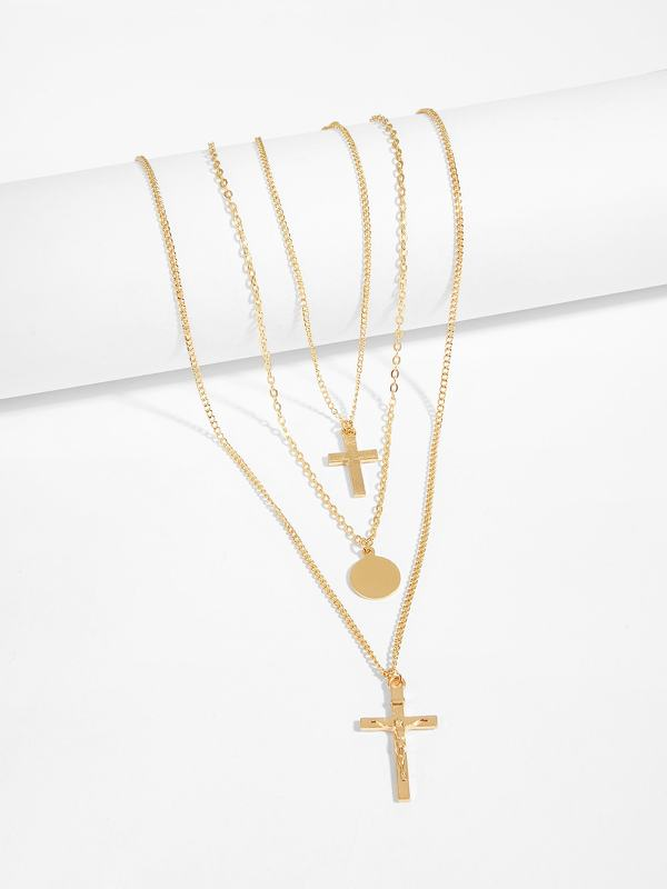 Cross & Disc Pendant Layered Chain Necklace 1pc