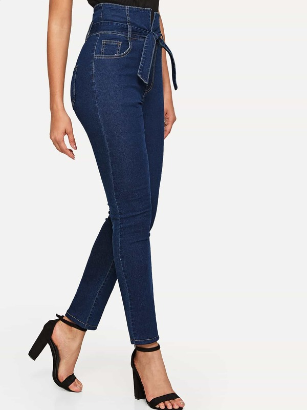 Wide Waist Self Belted Jeans