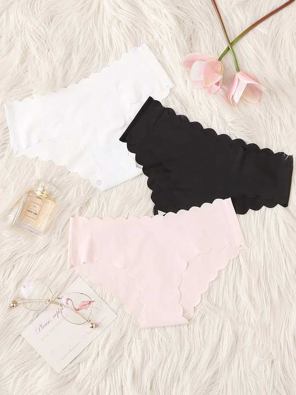 Scalloped Trim Panty Set 3pcs