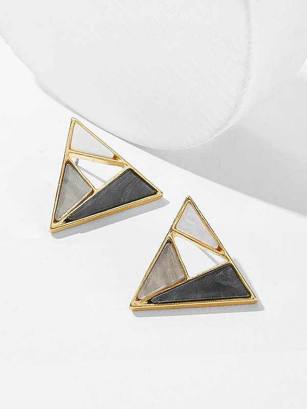Color-block Triangle Shaped Stud Earrings 1pair