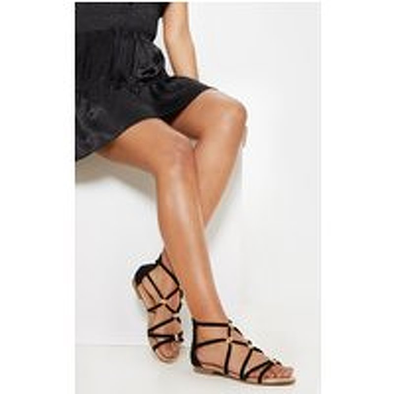 Black Metal Detail Flat Sandal