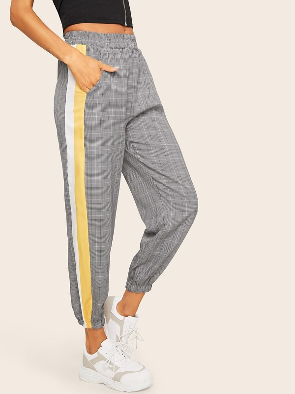 Contrast Tape Side Tartan Plaid Pants