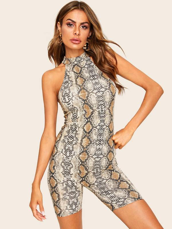 Snakeskin Form Fitted Halter Romper