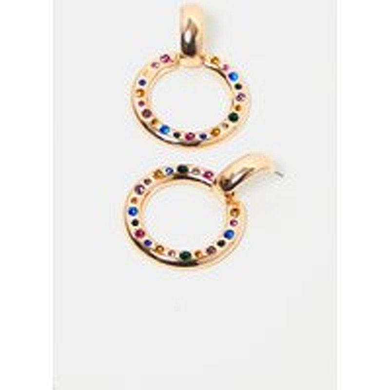 Gold Multi Color Gemstone Lined Ring Drop Earrings