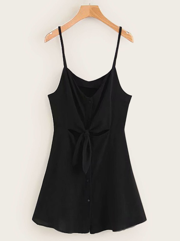 Tie Front Solid Cami Dress