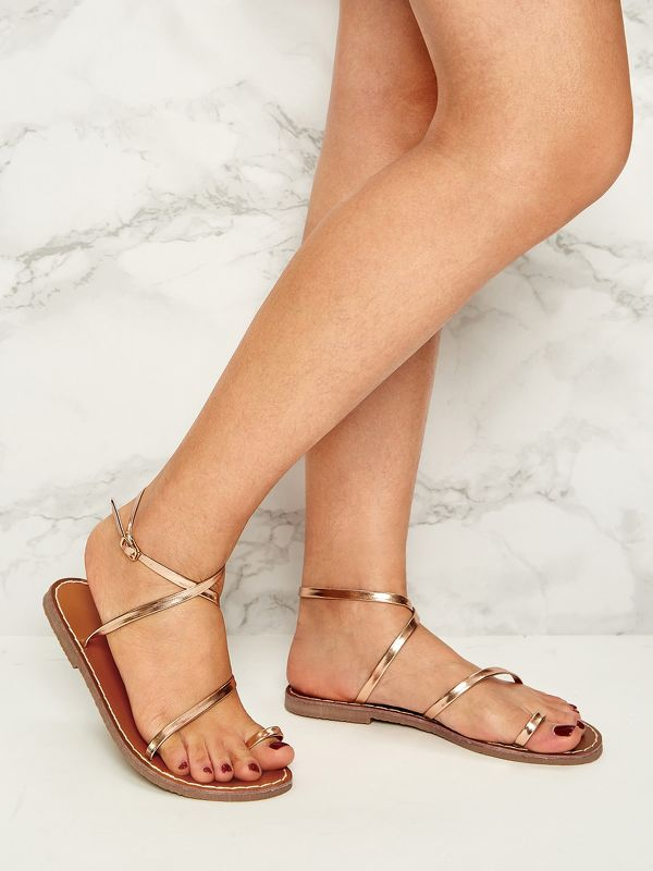 Toe Ring Slingback Flat Sandals