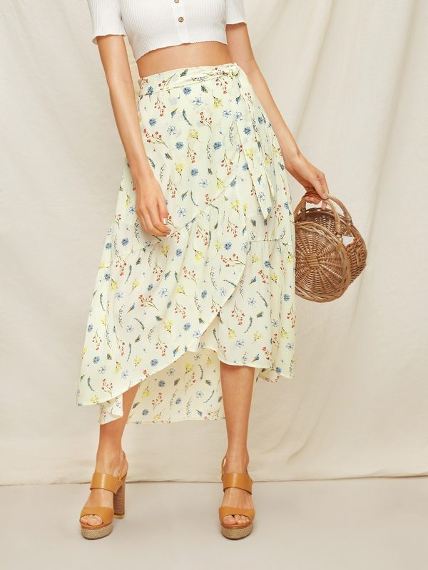 Calico Print Wrap Skirt