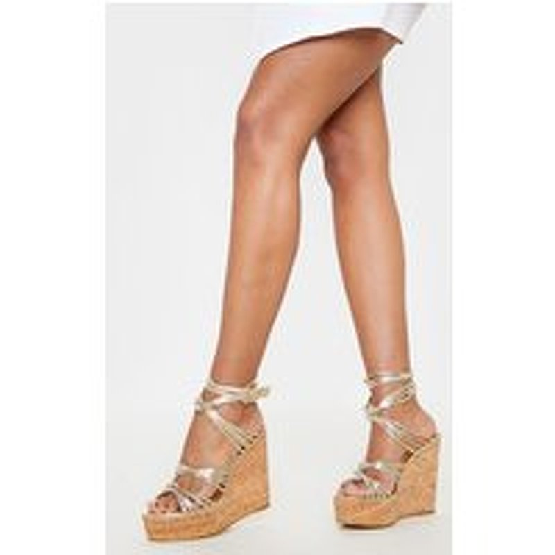 Gold Cork Knot Wedge Sandal