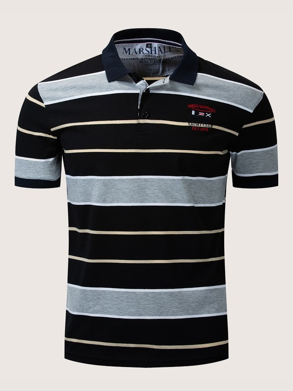 Men Striped Embroidery Polo Shirt