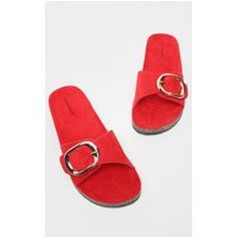 Red Buckle Detail Mule Sandal