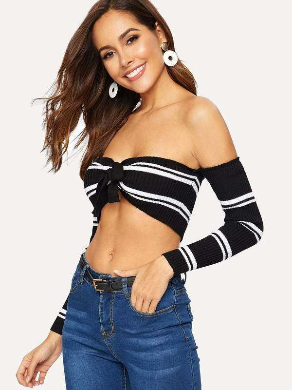 Knot Front Stripe Ribbed Knit Bardot Sweater