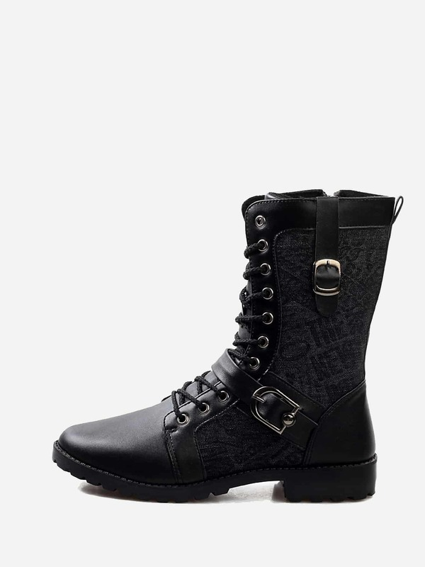 Men Buckle Decor Lace-up Boots