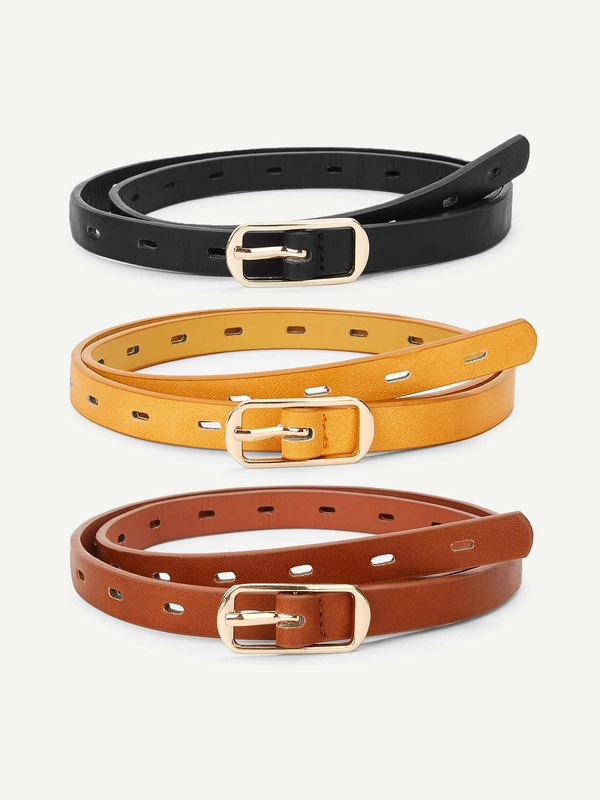 Metal Buckle Hollow Out Belt 3 Pcs