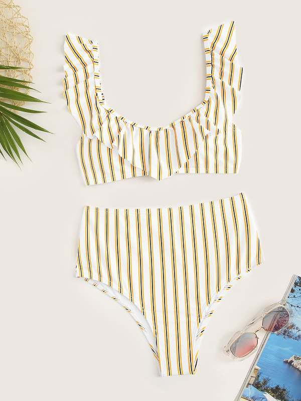 Striped Ruffle Top With High Waist Bikini Set