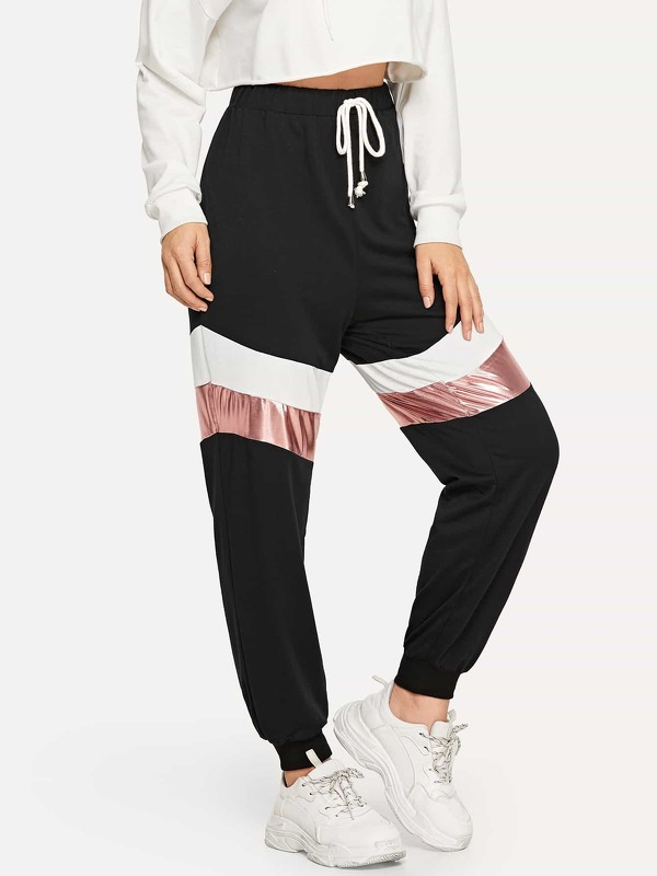 Waist Drawstring Color Block Pants