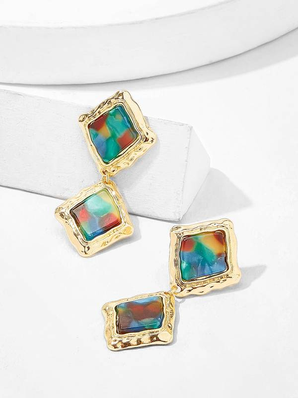 Color-block Double Square Drop Earrings 1pair