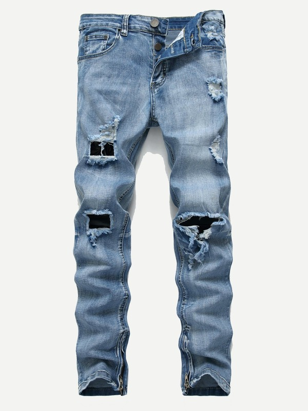Men Zipper Detail Ripped Jeans