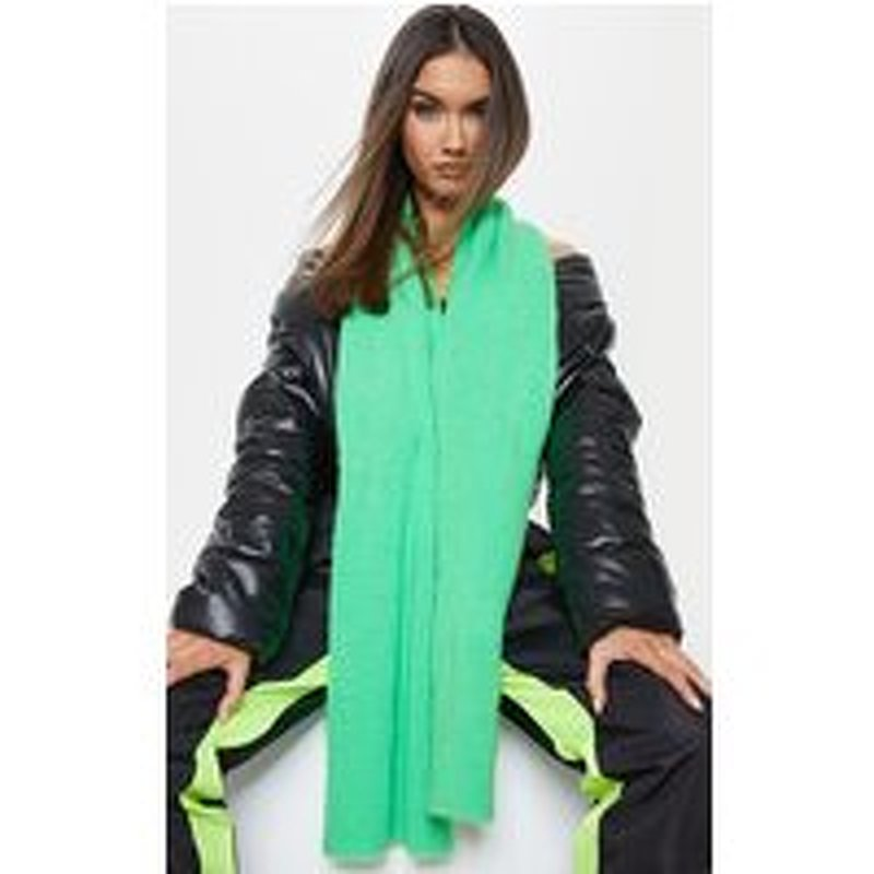 Green Neon Ribbed Knit Scarf