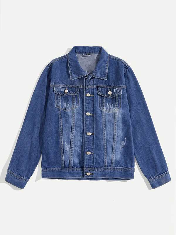 Men Button Through Ripped Denim Jacket