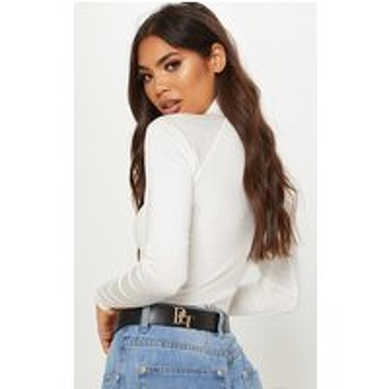 PrettyLittleThingLogo Black Back Branded Buckle Belt