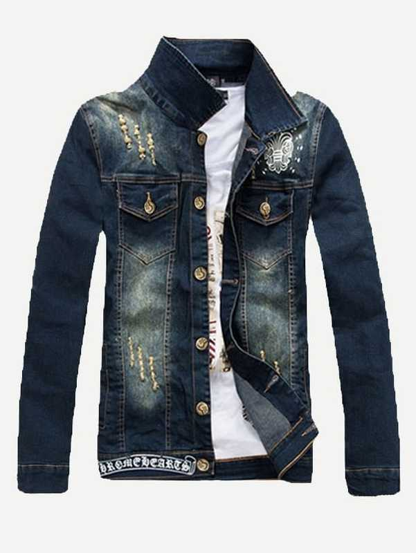Men Embroidery Destroyed Denim Jacket