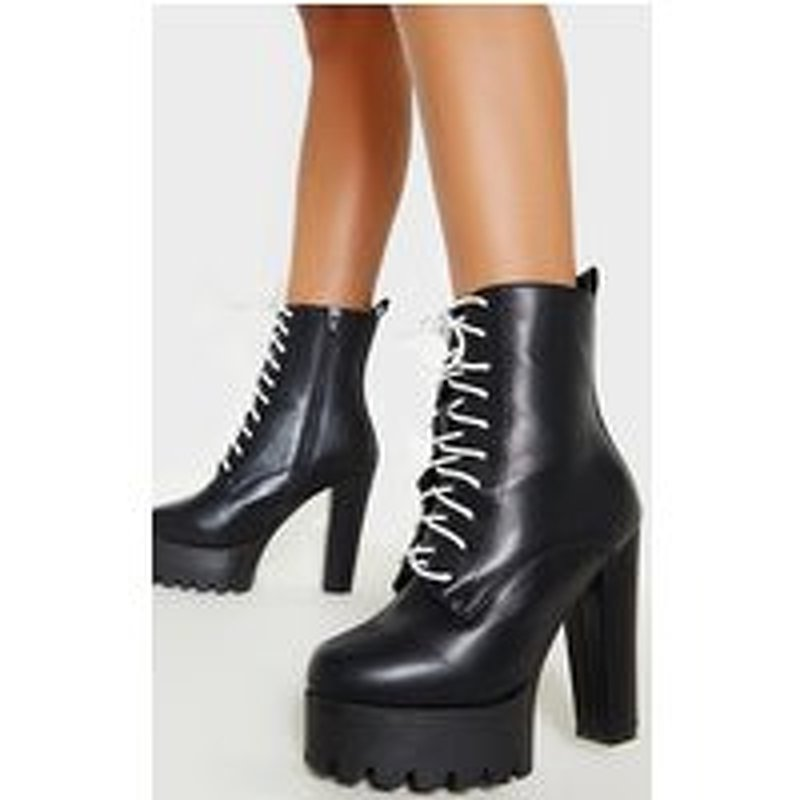Black Contrast Lace Double Platform Lace Up Boot