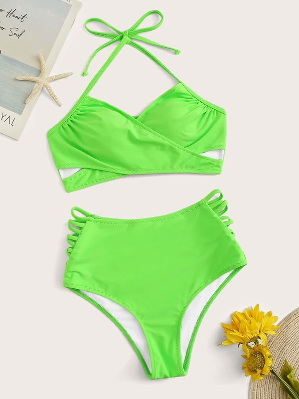 Neon Lime Lace-up Top With Ladder Cut-out Bikini
