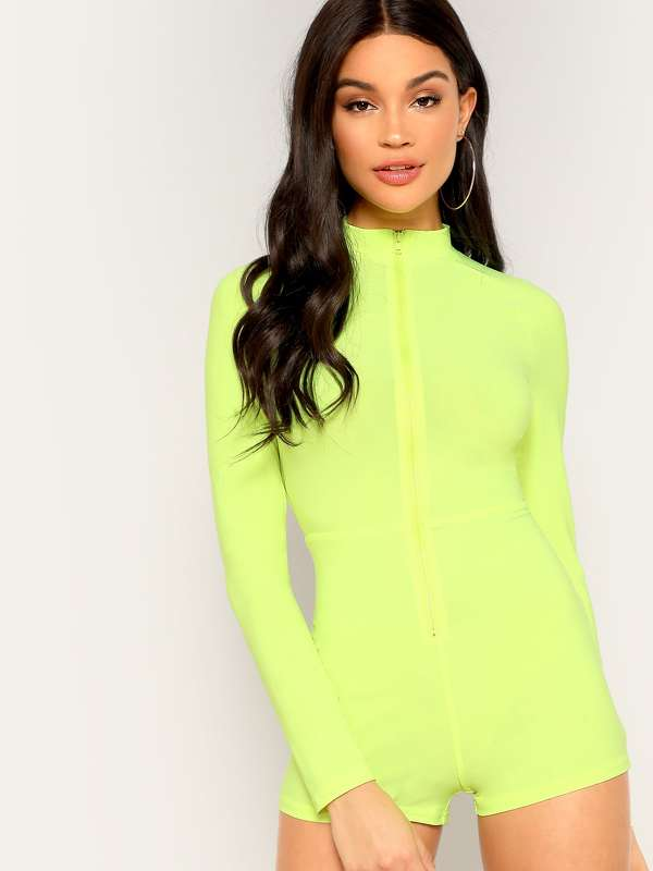 Zip Up Mock-neck Neon Yellow Jumpsuit