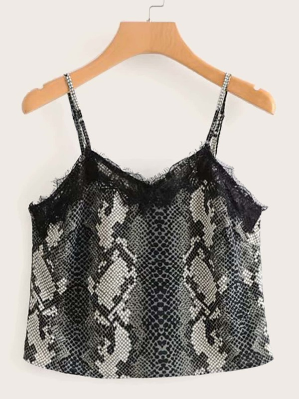 Lace Panel Snakeskin Print Cami Top