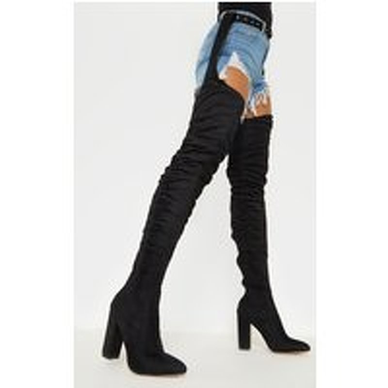 Beksie Black Belted Thigh High Boots