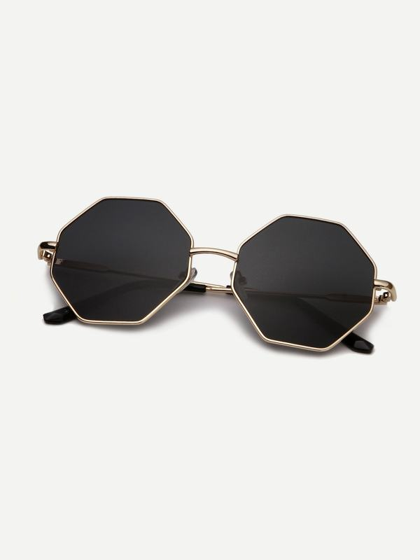 Men Metal Frame Polygon Lens Sunglasses
