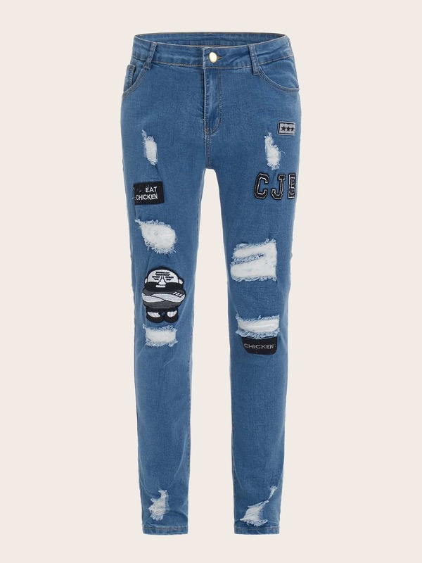 Men Embroidery Patched Ripped Jeans