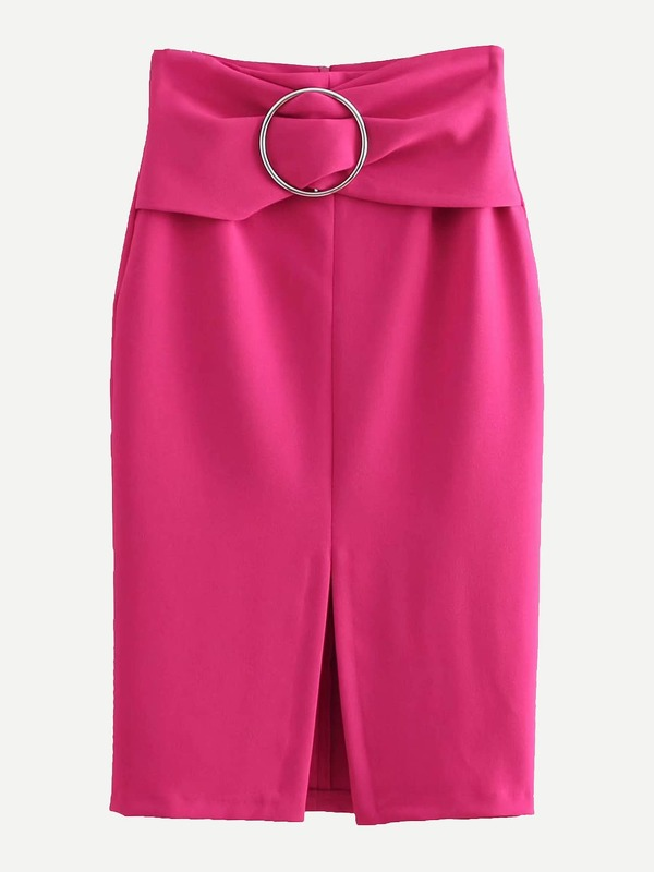 Ring Detail Zip Back Split Hem Skirt