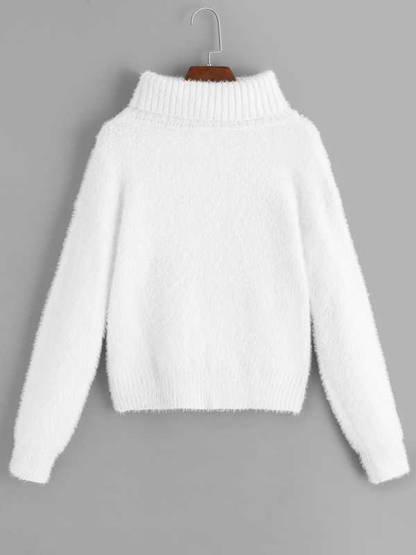 Rolled Neck Solid Fuzzy Sweater