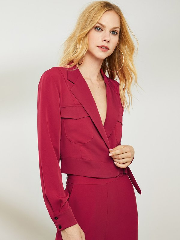 Pocket Front Notched Neck Belted Wrap Blazer