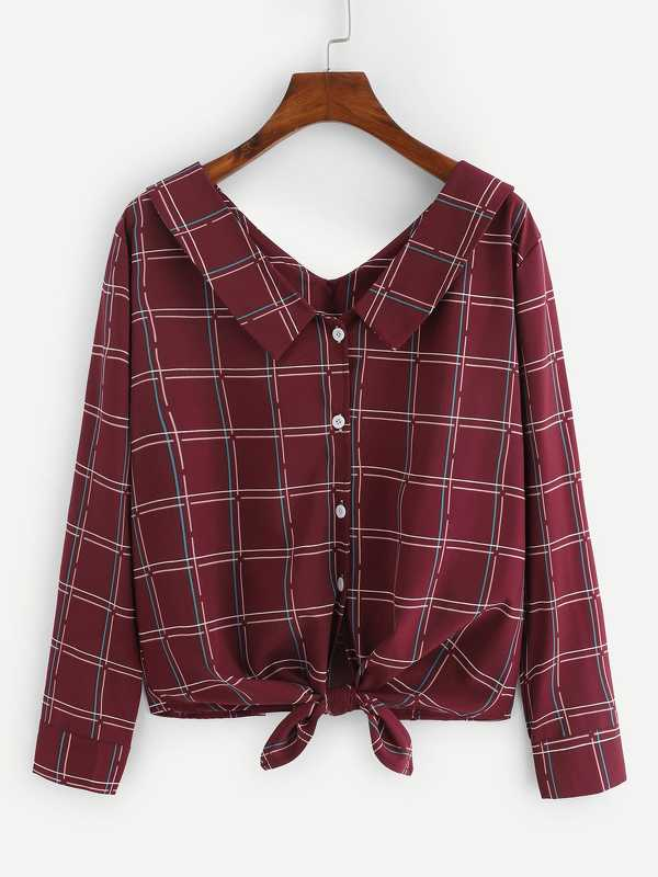 Plaid Knot Hem Blouse