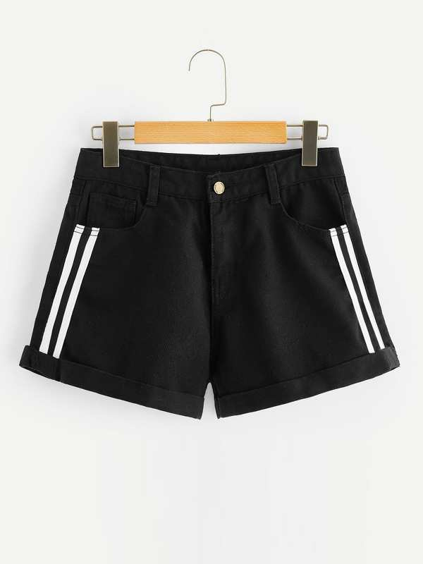 Striped Side Black Wash Cuffed Denim Shorts