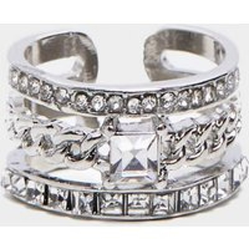 Silver Diamante Three Band Stacking Effect Ring