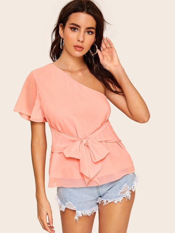 One Shoulder Tie Front Blouse