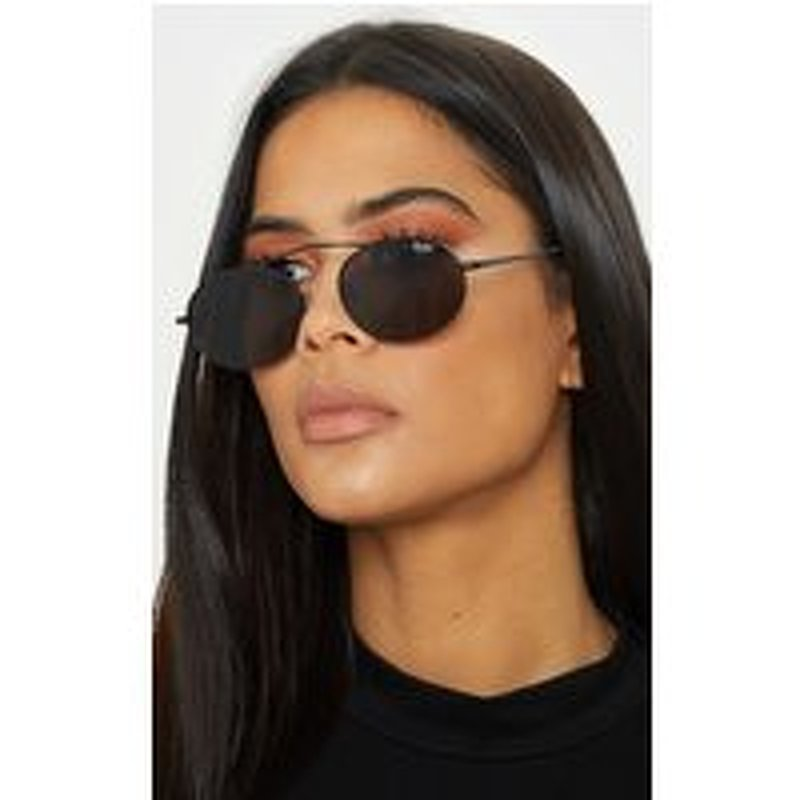 Quay Australia X FINDERS KEEPERS Black Frame Smoke Lens Oval Sunglasses