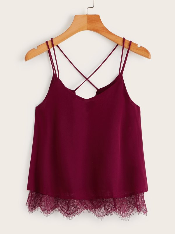 Solid Contrast Lace Criss Cross Cami Top