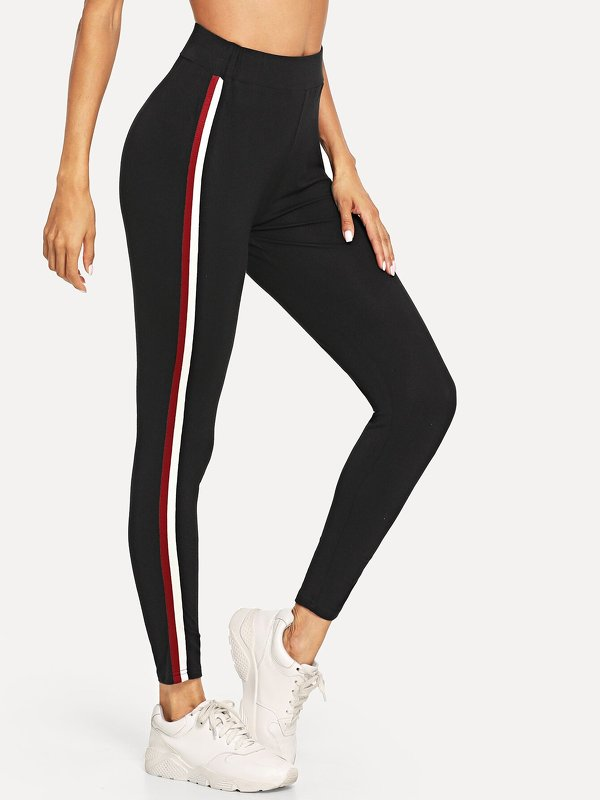 Wide Waist Striped Side Leggings