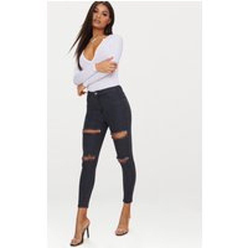 Washed Black Double Rip High Waisted 5 Pocket Skinny Jean