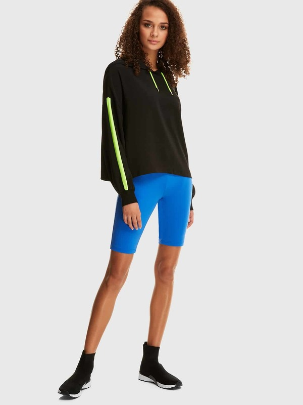 Neon Blue Elastic Waist Cycling Shorts